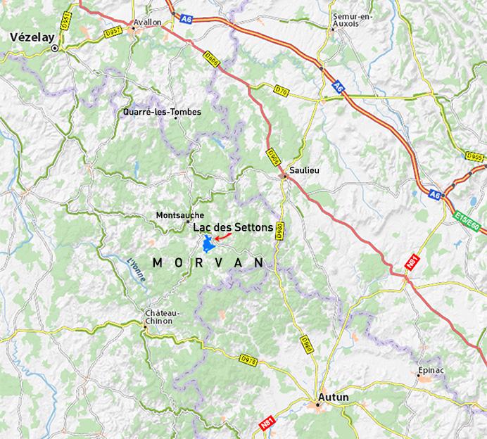 Carte de situation du lac des Settons dans le Morvan, lieu du stage de chant et Méthode Feldenkrais